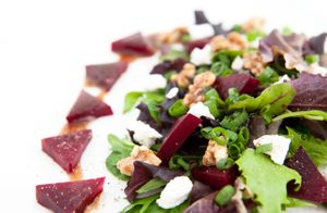 Roasted Beet and Goat Cheese Salad with Candied Walnuts