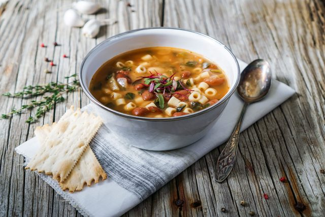 Minestrone in white bowl