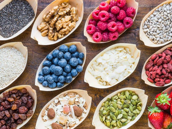 Top superfoods on wooden table