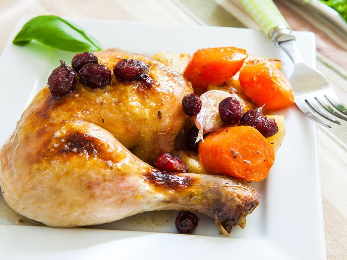 Roast chicken with sweet and sour cranberry sauce