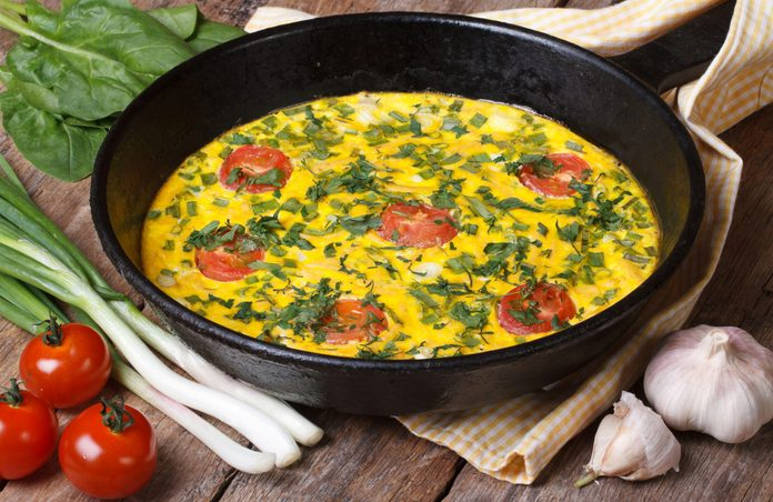 Egg-White Omelette with Spinach, Tomato and Cheddar