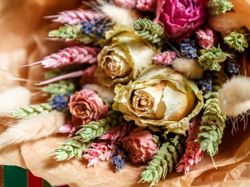 Dried bouquet of flowers