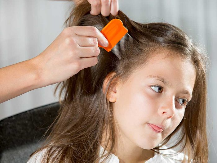 Little girl being checked for lice