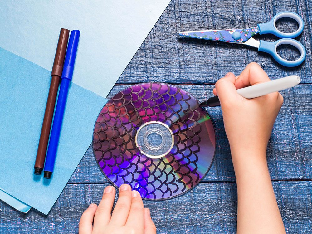 Use old CDs for kids crafts