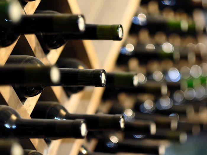 Wine bottles in store