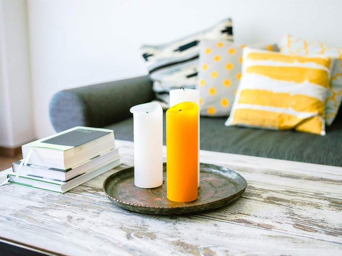 Candles in modern living room