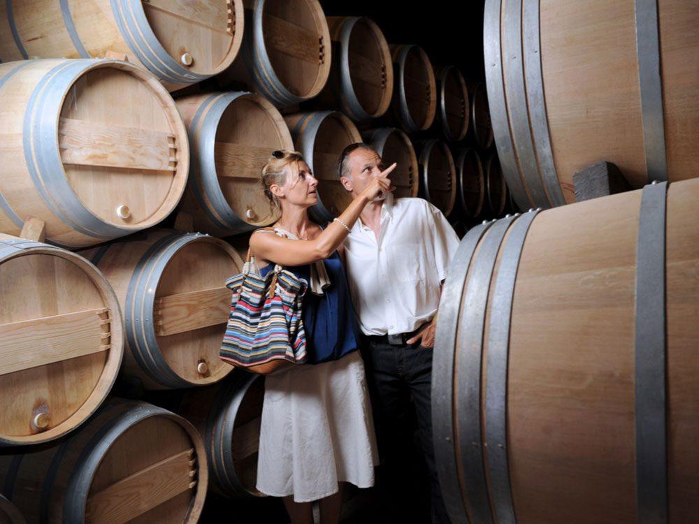 Couple on wine tour