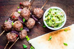 Meatball Kebabs with Avocado Tzatziki