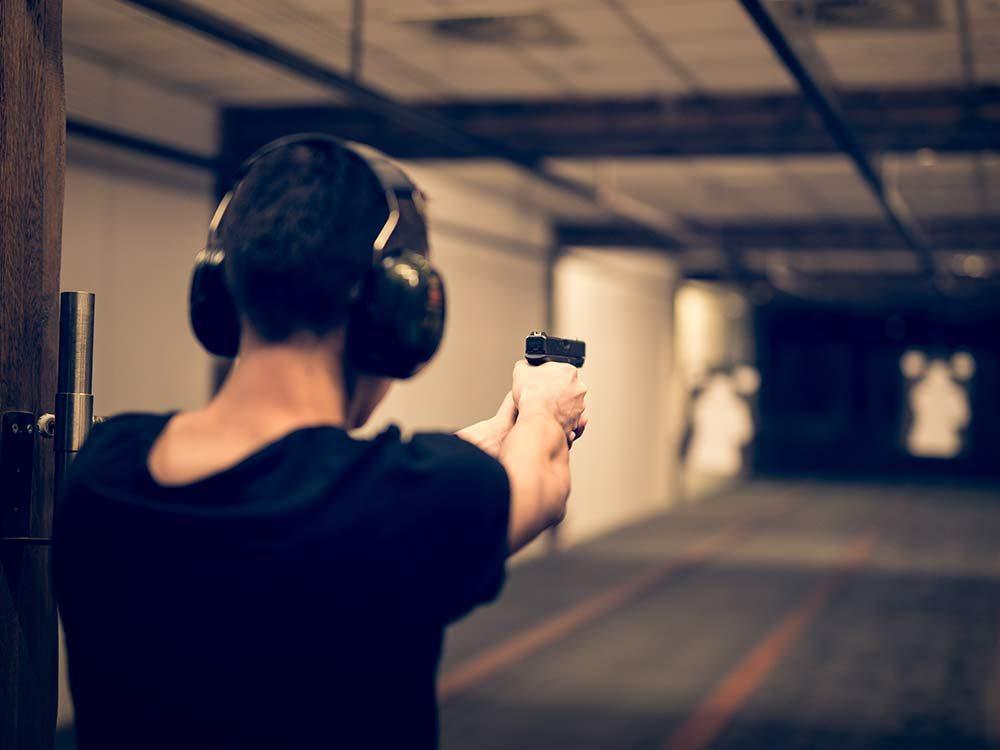 Man at gun range