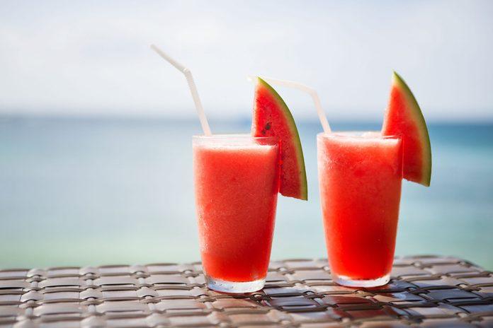 Watermelon cocktails on a beach