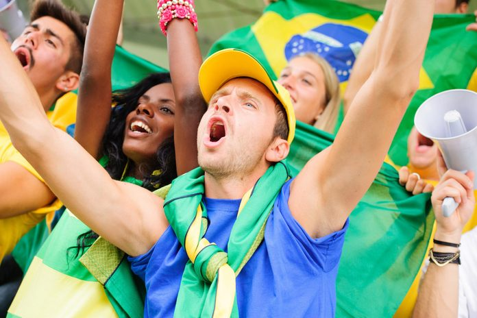 Brazilian fans at a soccer game