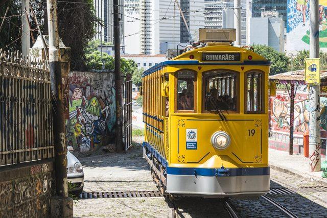 Yellow tram in Rio de Janeiro