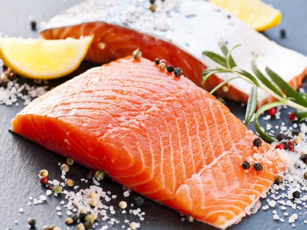 Salmon fillet with seasonings and herbs