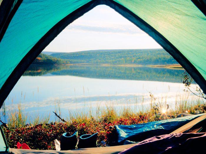 Tent overlooking lake