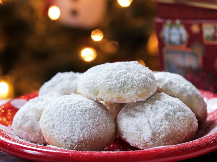 Christmas cookies dusted in icing sugar