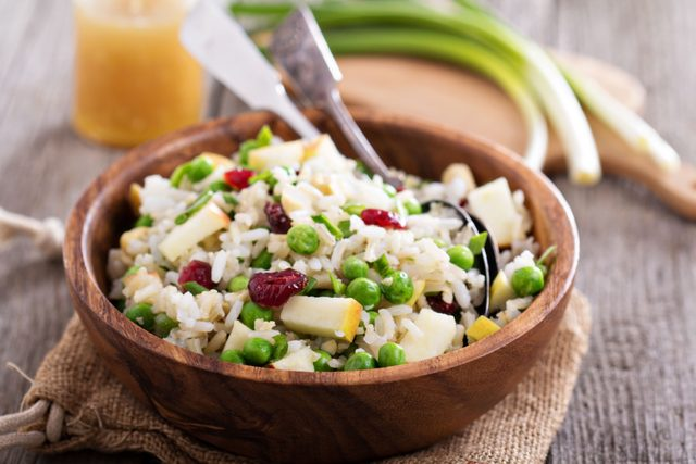 Wild rice and apple salad with cranberries