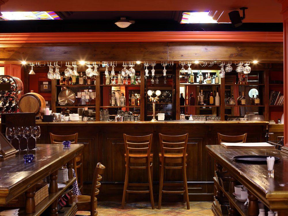 Empty European bar