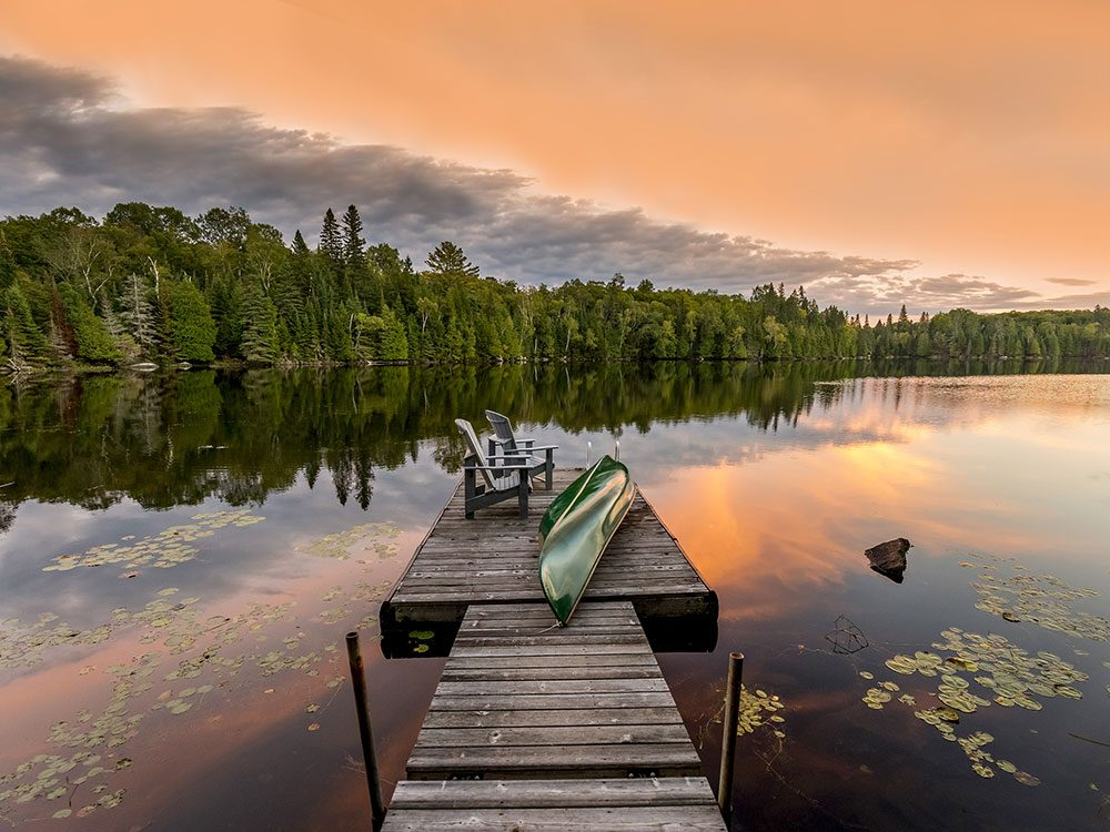 Cottage dock in the Haliburton Highlands, Muskokas