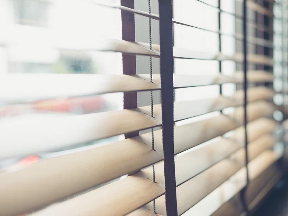 Beige venetian blinds
