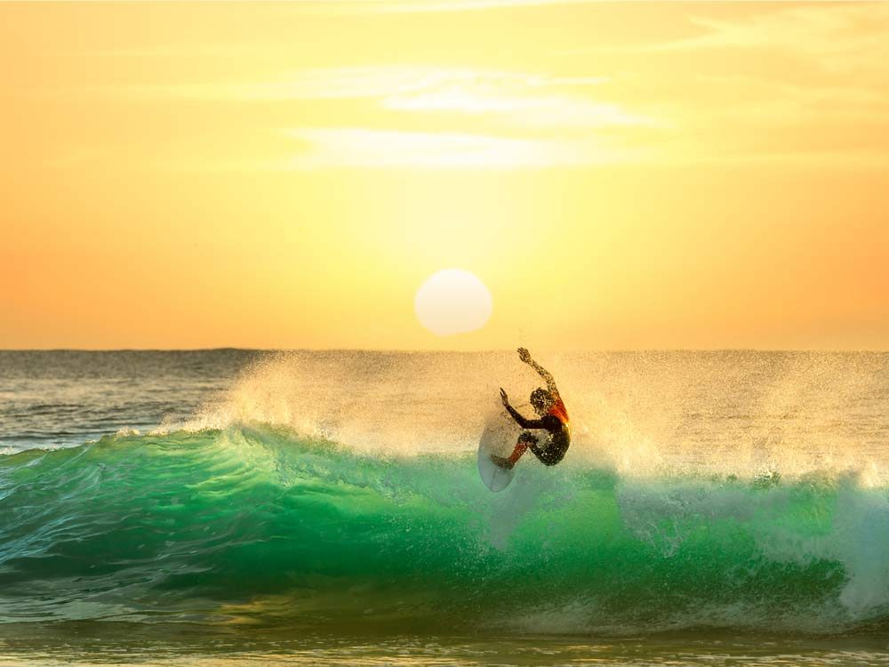 Surfing in the Gold Coast, Australia