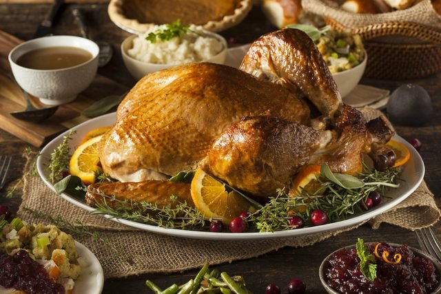 Thanksgiving foods including turkey and gravy