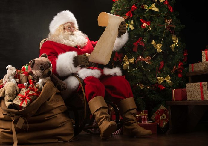 Santa Claus looking at list