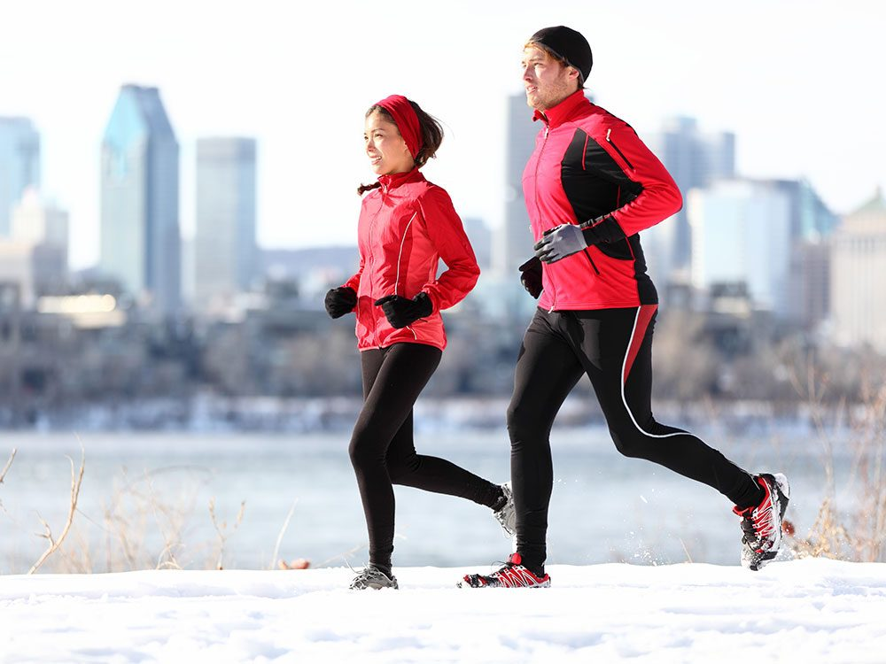 Man and woman running together