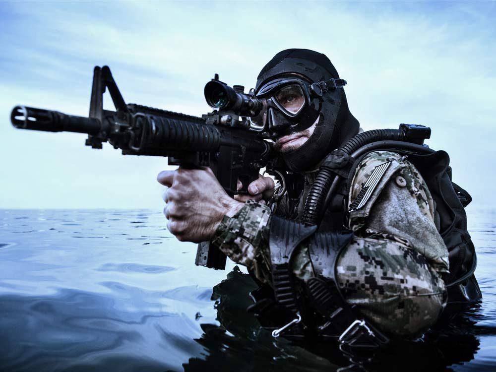 Navy SEAL in the ocean