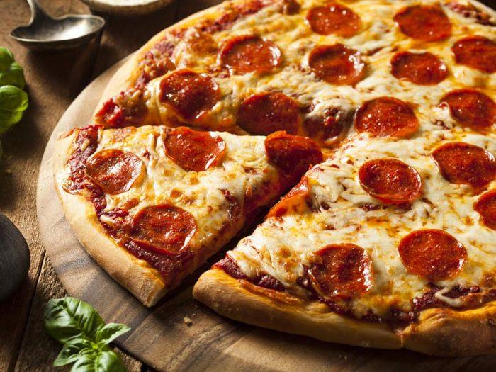 Homemade pepperoni pizza