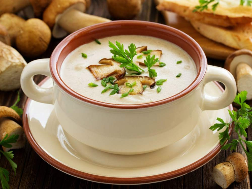Mushroom soup in bowl