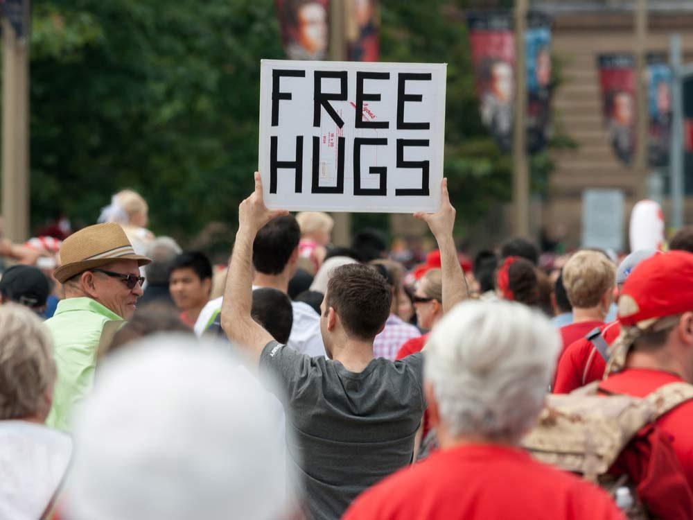 Free hugs sign