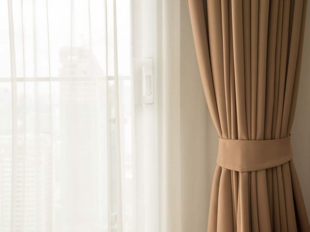 Curtain with warm sunlight