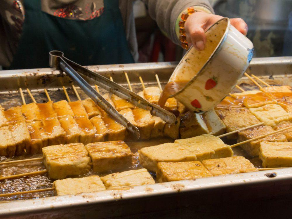 Deep-fried stinky tofu in Taiwan