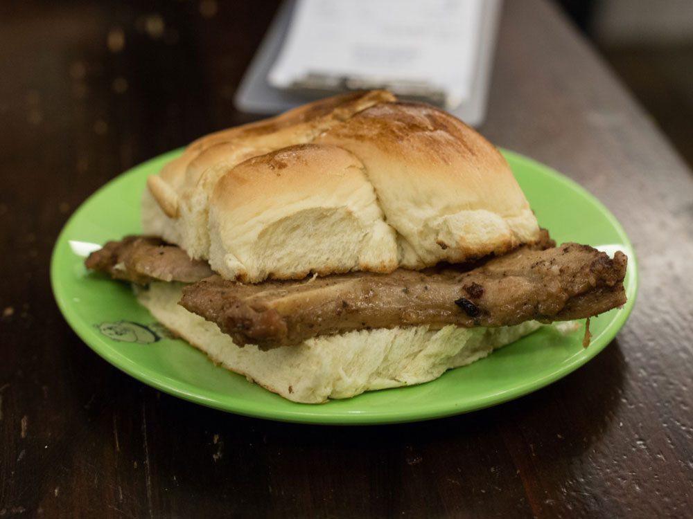 Pork chop bun in Macau