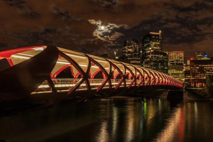 Peace Bridge in Calgary at night