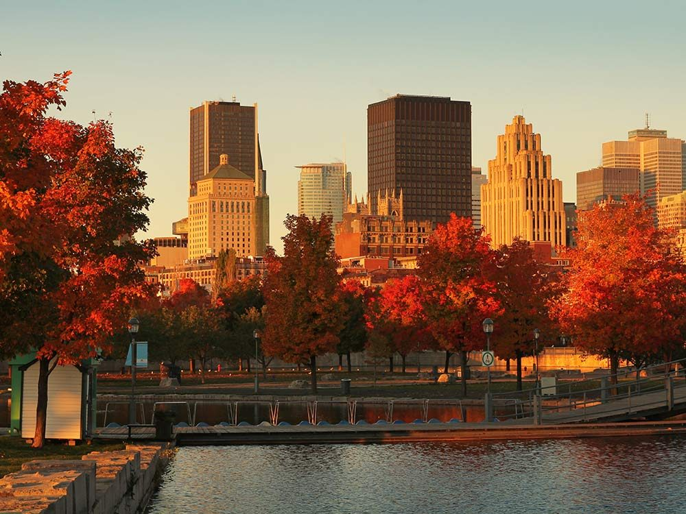 Old port of Montreal during autumn