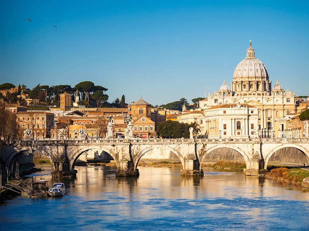 View of St. Peter's cathedral in Rome, Italy