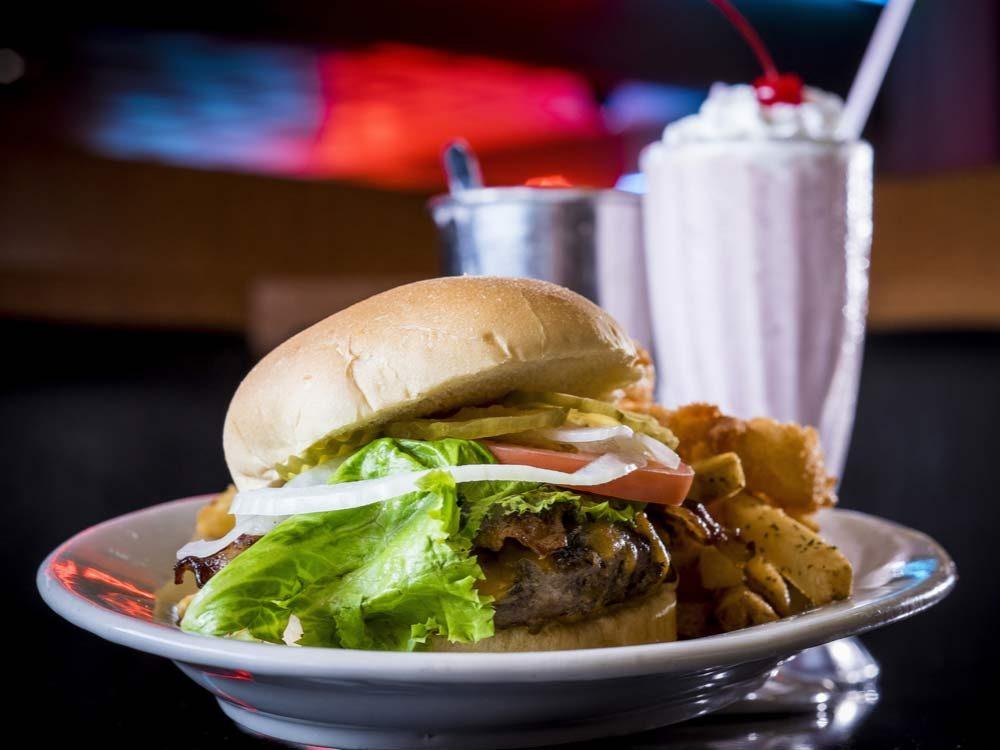 Burgers, fries and milkshake