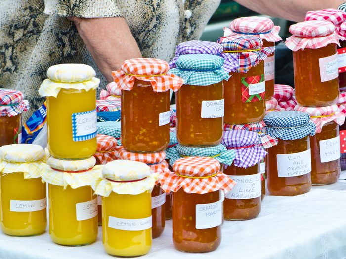 Fresh jams and preserves for sale at the Salt Spring Island Saturday Market