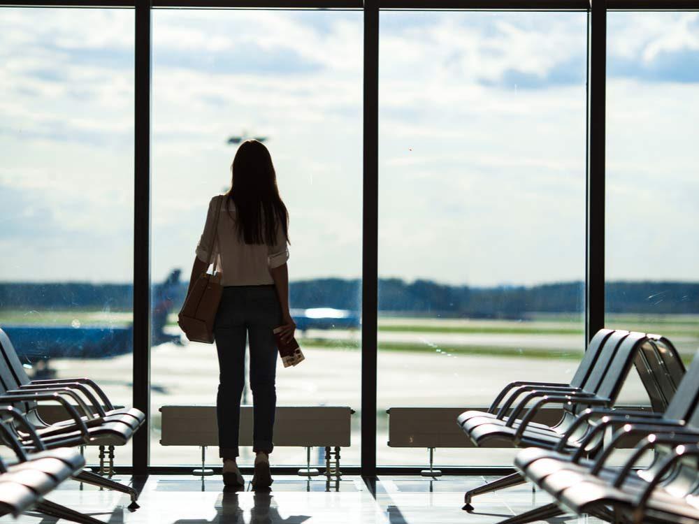 Woman missing her flight