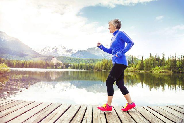 Arthritic woman walking