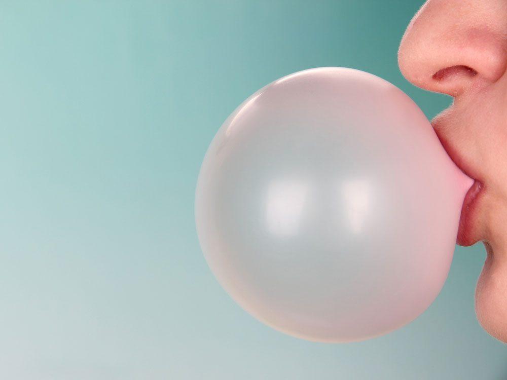 Blowing gum bubble