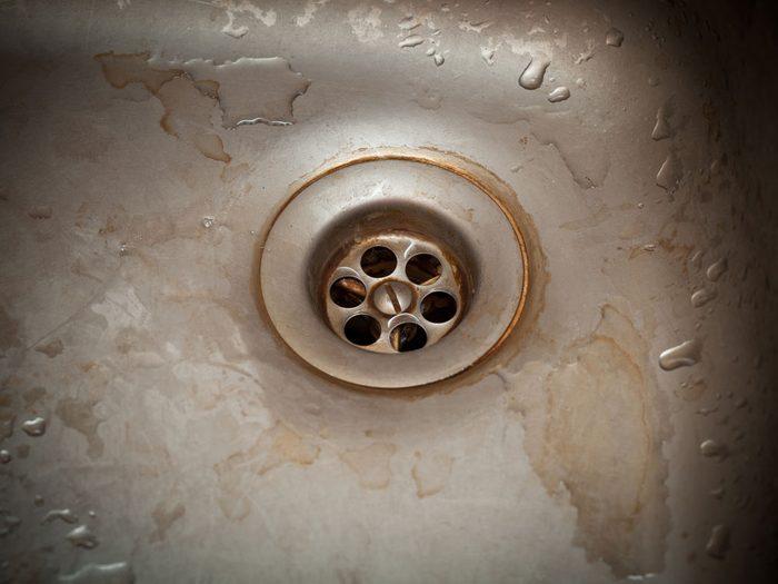 Rusty drain hole of sink
