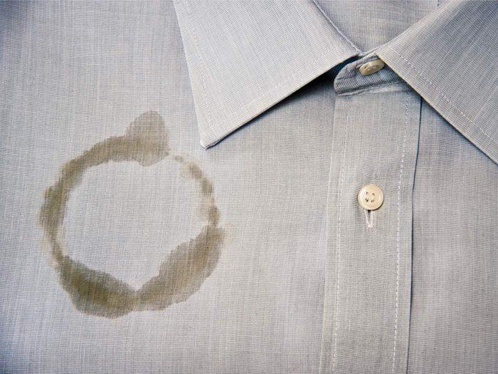 Coffee stain on dress shirt