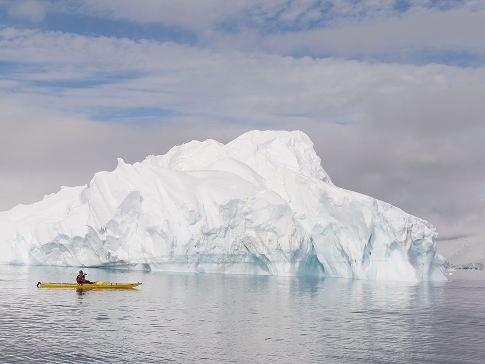 Kayaking with icebergs in Canada