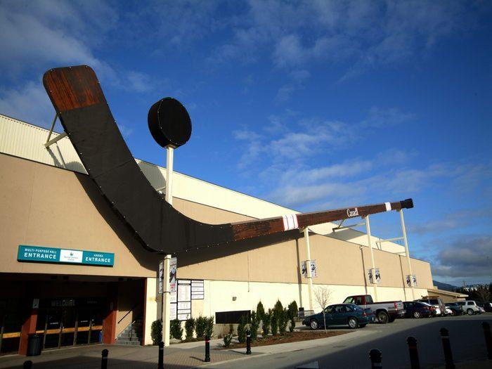 Giant hockey stick statue