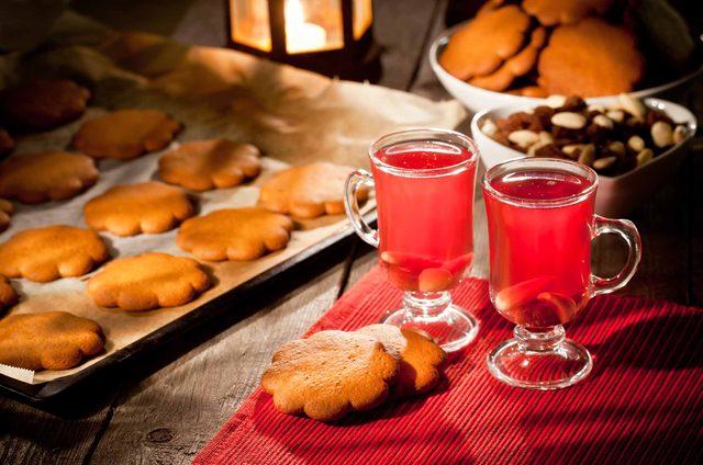 Christmas drinks and cookies