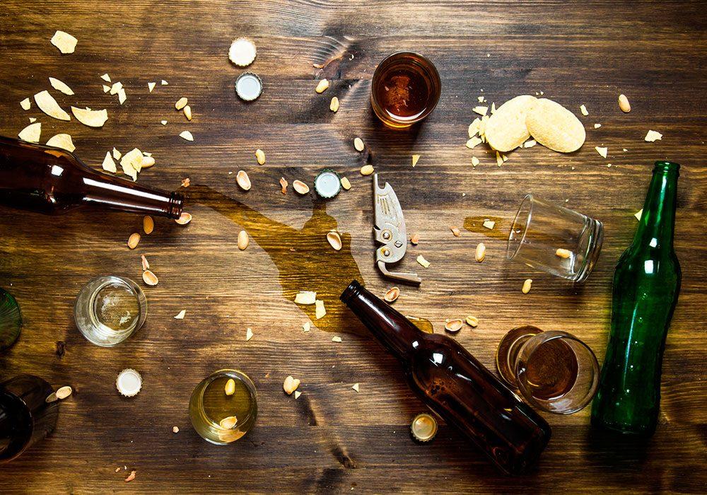 Spill on dinner table