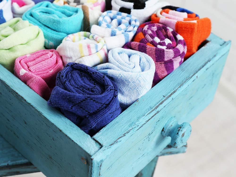 Socks in coloured drawer