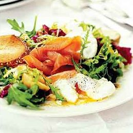 Breakfast Salad With Poached Eggs and Smoked Salmon